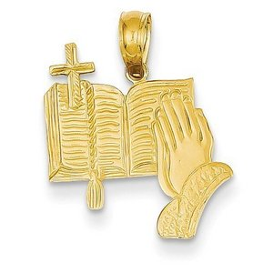 14K Yellow Gold Bible  Praying Hands  and Cross Pendant
