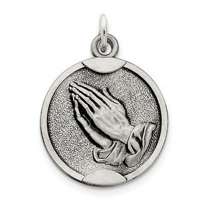 Sterling Silver Antiqued Praying Hands Medal