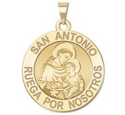 San Antonio Spanish Medalla Religiosa Redonda