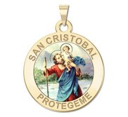 San Cristobal Round Religious Color Medal    EXCLUSIVE
