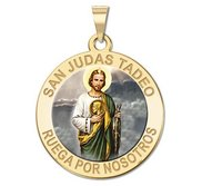 San Judas Tadeo Round Religious Color Medal   EXCLUSIVE