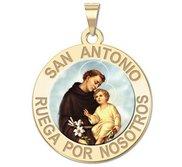 San Antonio Medalla religiosa redonda en color