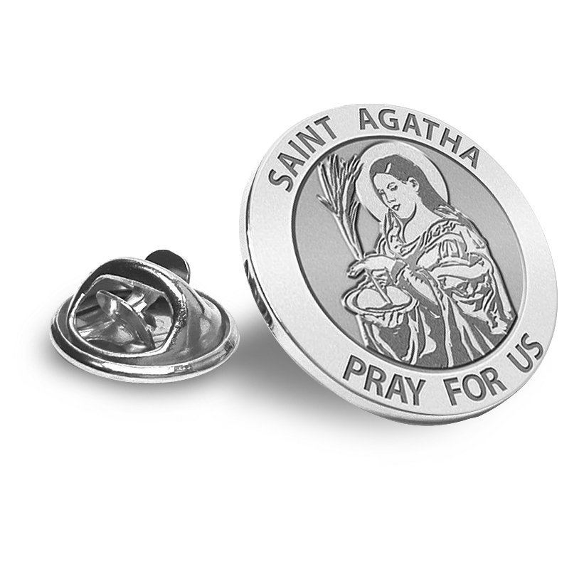 PicturesOnGold.com Saint Agatha Round Religious Medal Color 2//3 Inch Size of Dime Solid 14K White Gold