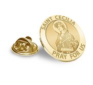 Saint Cecilia Religious Brooch  Lapel Pin   EXCLUSIVE