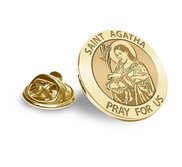 Saint Agatha Religious Brooch  Lapel Pin   EXCLUSIVE