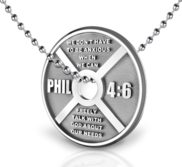 Sterling Silver Philippians 4 6 Weight Plate Anxiety Relief Necklace