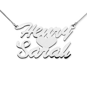 Stacked Script Name Necklace with Heart   Chain Included