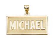 Block Style Horizontal Rectangle Name Necklace w  Box Chain