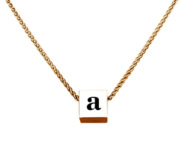 Petite 3D Cube Necklace with Initial   18  Chain Included