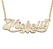 Classic Script Name Necklace w  Birthstone   Rolo Chain Included