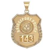 Personalized Bridgeport  Connecticut Police Badge with Your Number