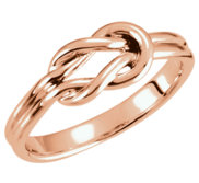 14K Rose Gold Love Knot Ring w  Engravable Band