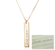 Personalized Handwriting Vertical Bar with 18  Chain