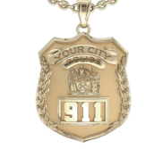 Personalized Police Badge Necklace or Charm   Shape 1