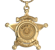 Personalized 5 Point Star Sheriff Badge Necklace or Charm   Shape 3