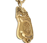 Personalized Police Badge Necklace or Charm   Shape 13