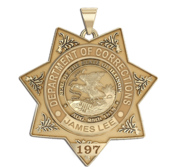 Personalized Correction Officer Badge Necklace or Charm   Shape 1