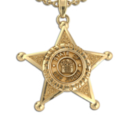 Personalized 5 Point Star Sheriff Badge Necklace or Charm   Shape 1