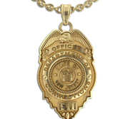 Personalized Police Badge Necklace or Charm   Shape 6