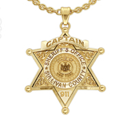 Personalized 6 Star Sheriff Badge with Number  Rank   Department