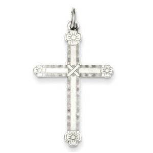SS Laser Designed Cross Charm