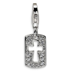 Sterling Silver CZ Cut out Cross Faith Clip on w Lobster Clasp Charm