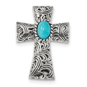 Sterling Silver Antiqued Reconstituted Turquoise Cabochon Slide