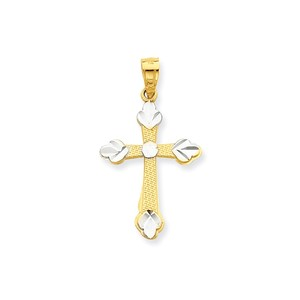 10k   Rhodium Budded Cross Pendant