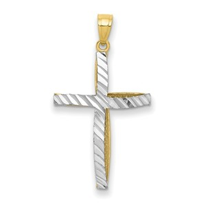 10k   Rhodium Cross Pendant