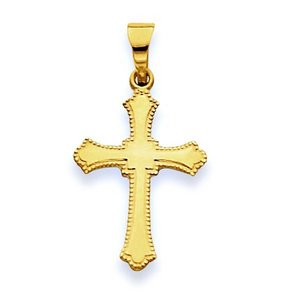 14K Yellow Small Budded Cross Pendant
