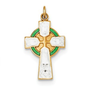 Sterling Silver Rhodium plated Polished Gold plated Epoxy  Cross Pendant