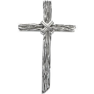 Sterling Silver Wooden Texture Cross Pendant