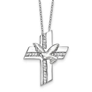 Sterling Silver CZ Confirmation Blessings 18in  Necklace
