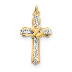 Sterling Silver Rhodium plated   18k Gold plated Dove  Satin  Cross Charm
