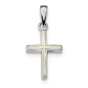 Sterling Silver Rhodium plated White Created Opal Cross Pendant