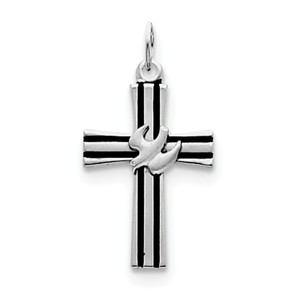 Sterling Silver Rhodium plated Dove Cross Pendant