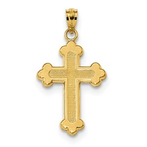 14k Satin   Polished Budded Cross Pendant