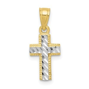 10k   Rhodium Tiny Diamond Cut Cross Pendant