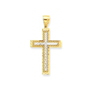 10k   Rhodium Diamond Cut Cross Pendant