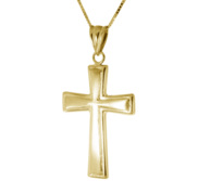 Unisex Solid 14k Yellow Gold Matte Finished Cross Necklace