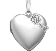 Sterling Silver Heart Photo Locket with Dyslexia Tag