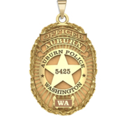 Personalized Auburn  Washington Police Badge with Your Rank and Badge Number