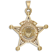 Personalized 5 Point Star Arkansas Sheriff Badge with Rank  Number   Dept
