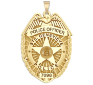Personalized St Geneveive Missouri Police Badge with Your Rank and Number