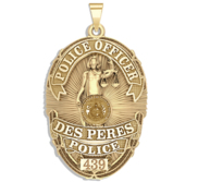 Personalized Des Peres Missouri Police Badge with Your Rank and Number