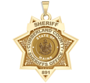 Personalized 7 Point Star Maine Sheriff Badge with Rank  Number   Dept
