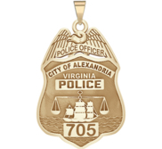 Personalized Alexandria Virginia Police Badge with Your Rank and Number
