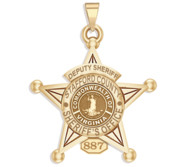 Personalized 5 Point Star Virginia Sheriff Badge with Department  Rank and Number
