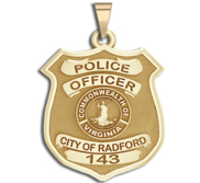 Personalized Radford Virginia Police Badge with Your Rank and Number