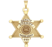 Personalized West Virginia 6 point Sheriff Badge with Rank  Dept  and Number